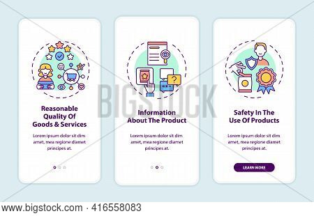 Fundamental Consumer Rights Onboarding Mobile App Page Screen With Concepts. Goods Quality, Info Wal