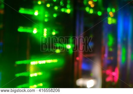Blurred Background Of Server Hardware For Artificial Intelligence, Bokeh Of Lamps Of Computers Ai An