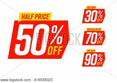 Sale Banner Special Offer Tag Discount Template Set. Half Price, Buy Now And Hot Deal Special Offer
