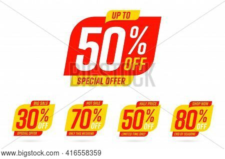 Special Offer, Big Hot Sale, Half Price, Shop Now Promo Tag. Only This Weekend, Limited Time Only Up