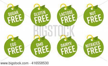Bio Eco Pure Healthy Safety Product Information Insignia Tag. Sugar, Gluten, Lactose, Nut, Egg, Gmo,