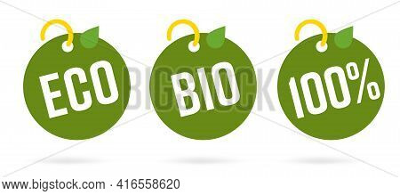 100 Percent Bio Eco Organic Food Product Drink Round Tag Set. Green Quality Guarantee Purity Origina