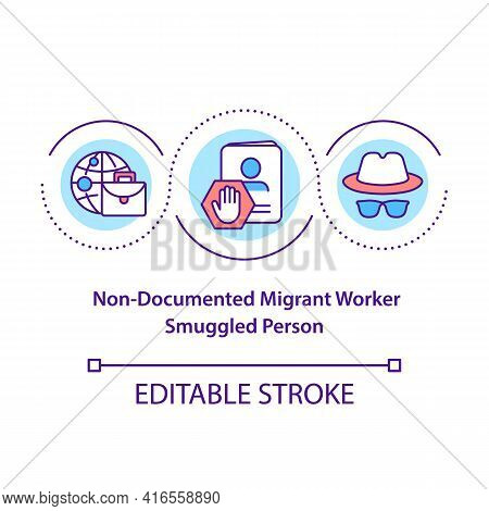 Non Document Migrant Worker, Smuggled Person Concept Icon. Human Trafficking. Illegal Immigrant Idea