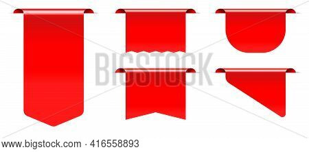 Red Sale Tag Price Label Retail Mockup With Blank Copy Space. Realistic Three-dimensional Empty Prom