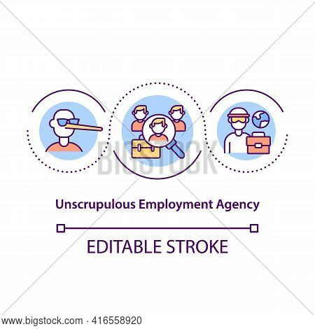Unscrupulous Employment Agency Concept Icon. Unfair Treatment Of Immigrants. Migrant Workers Rights
