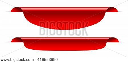 Blank Sale Tag Red Ribbon Banner Mockup For Promotion Design. Two Realistic Three-dimensional Label