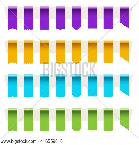 Empty Blank Color Sale Tag Ribbon Big Set For Advertisement. Purple, Yellow, Blue, Green Realistic T