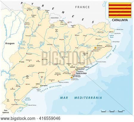 Vector Map Of Spanish Region Of Catalonia With Flag