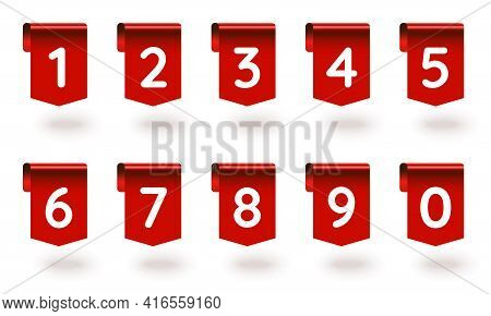 1, 2, 3, 4, 5, 6, 7, 8, 9, 0 Number Sign Tag Red Ribbon Set. Red Realistic Three-dimensional Design