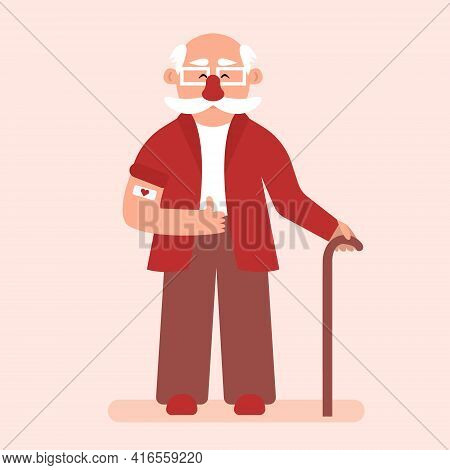 Vaccination Of The Elderly. Elderly Man Pulls Up The Sleeve Of His Suit To Reveal The Vaccination Ba