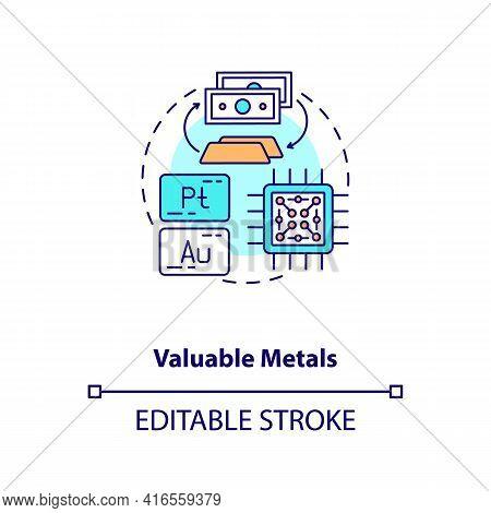 Valuable Metals Concept Icon. E-waste Component Idea Thin Line Illustration. Platinum, Gold. Preciou