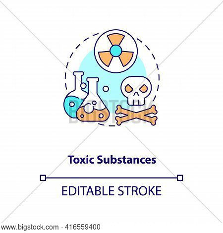 Toxic Substances Concept Icon. E-waste Component Idea Thin Line Illustration. Recycling Toxic Chemic