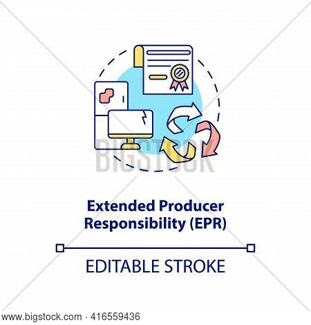 Extended Producer Responsibility Concept Icon. E-waste Reduction Initiative Idea Thin Line Illustrat