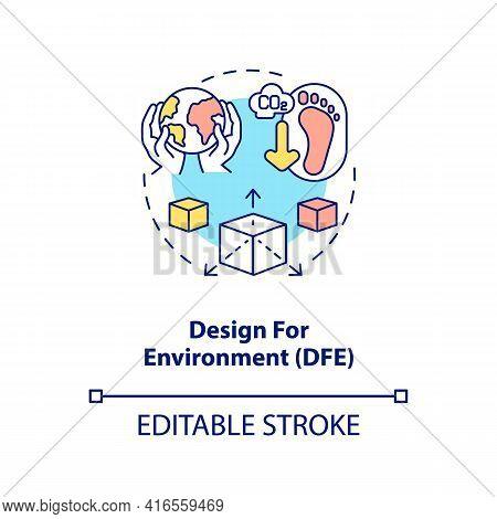 Design For Environment Concept Icon. E-waste Reduction Initiative Idea Thin Line Illustration. Produ