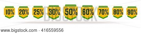 5, 10, 20, 25, 30, 50, 60, 70, 80, 90 Percent Pointer Set. Yellow Green Sale Tag With Different Perc