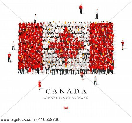 A Large Group Of People Are Standing In White And Red Robes, Symbolizing The Flag Of Canada. Vector