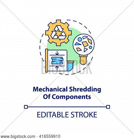 Mechanical Components Shredding Concept Icon. E-waste Recycling Step Idea Thin Line Illustration. Ma