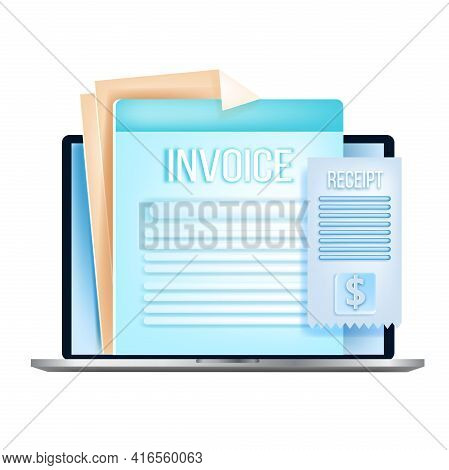 Online Invoice, Internet Bill, Digital Tax Payment Vector Concept, Laptop, Paper Receipts, Isolated