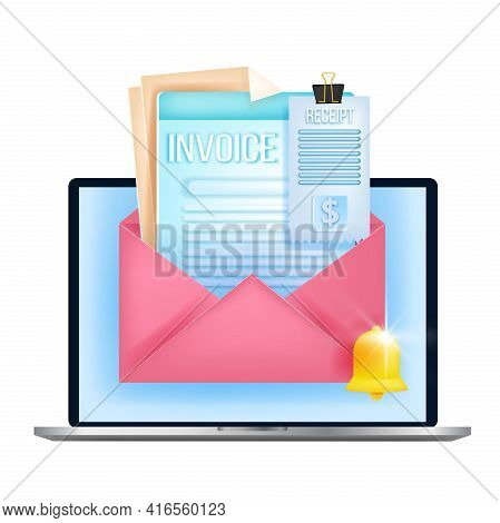 Online Invoice, Digital Bill, Internet Payment Vector Tax Report Concept, Laptop, Email Envelope, No