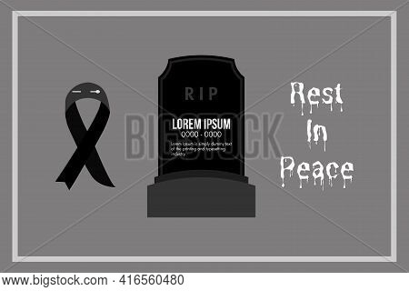 Black Ribbon And Grave For Rest In Peace R.i.p Vector Background Design