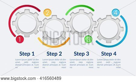 Blank Circle Gears Vector Infographic Template. Fancy Presentation Design Elements With Text Space.