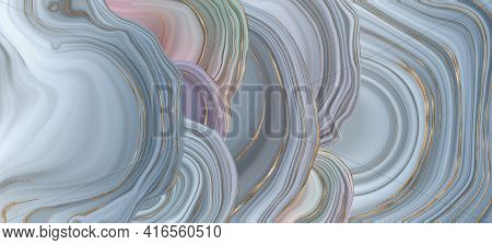 Beautiful Realistic Pastel Abstract Marble Agate, Golden Veins. Abstract Marbling Agate Texture Shin