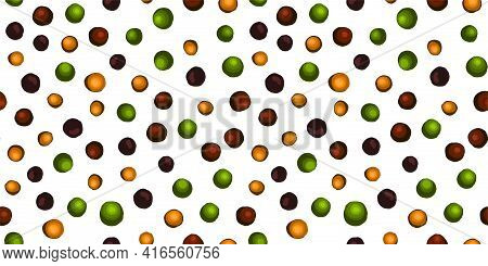 Kitchen Textile Design. Multi-colored Peppercorns. A Mixture Of Peppers. Seamless Pattern. Peas. Ita