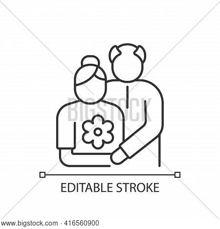 Old Couple Linear Icon. Honor Senior Citizens Day. Double Ninth Festival. Visit Elderly Relatives. T