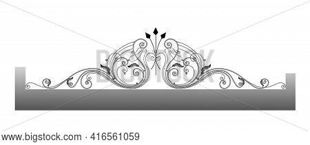 Vector Template For A Fence. Wrought Iron. Metal Fence Sketch. Artistic Forging. Metal Garden Decora