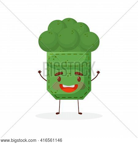 Broccoli Shaped Patch Pocket. Character Pocket Broccoli. Cartoon Style. Isolated On White Background