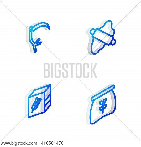 Set Isometric Line Rolling Pin On Dough, Scythe, Flour Pack And Bag Of Flour Icon. Vector