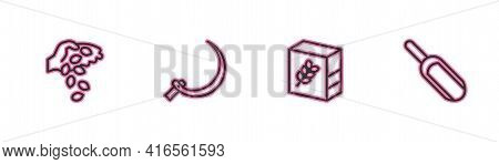 Set Line Seed, Flour Pack, Sickle And Scoop Flour Icon. Vector