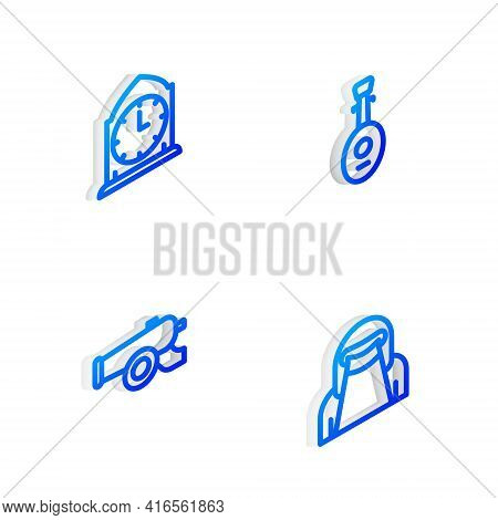 Set Isometric Line Lute, Clock, Ramadan Cannon And Muslim Woman In Niqab Icon. Vector