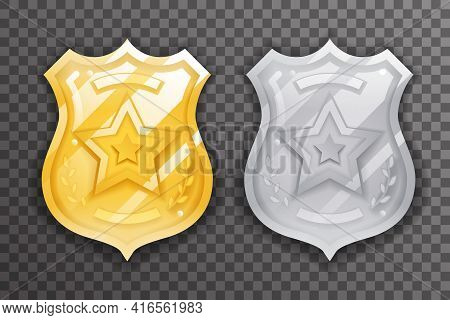 Gold And Silver Police Officer Badge Icon Protection Insignia Law Order Decoration Vector Design Ill
