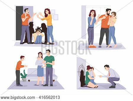 Domestic Violence Set, Quarreling Parents And Child Holding Head, Problem With Teenagers, Conflict B