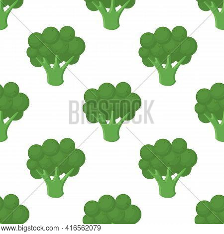 Broccoli Vegetables Seamless Pattern On Green Background, Green Broccoli Ingredients Food