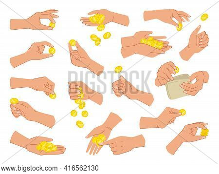 Coins And Cash In Hands, Isolated Set Of Palms With Wallets Of Money For Paying. Giving Loan, Saving