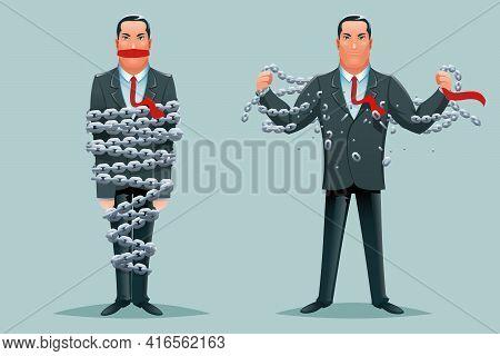 Imprisoned Businessman Release Breaking Chains Liberation Heroic Strength Cartoon Design Character B