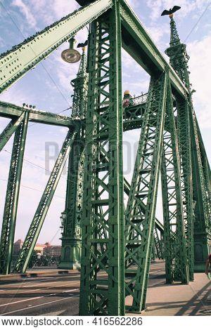 Liberty Bridge Over Danube River In Budapest, Hungary