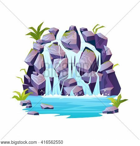 Tropical Waterfalls Landscape, Rocky Mountain, River Rapids Cartoon Icon. Topical Or Jungle Scenery,