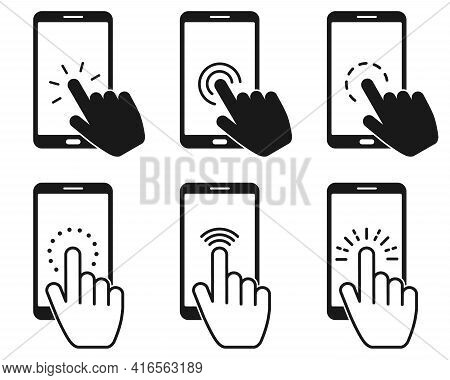 Set Of Touch Screen Smartphone Sign Icon. Hand Pointer Symbol. Flat Design Style. Vector