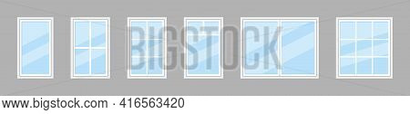 Glass Window. Icon Of Plastic Windowpane With Frame For House And Office. Double Windows For Balcony