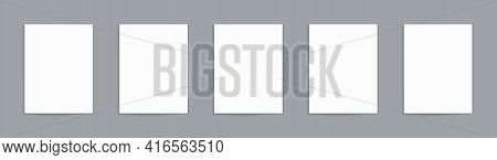 White Paper Sheet. Blank Paper Page With Shadow. Mockup Of Letter Isolated On Grey Background. Verti