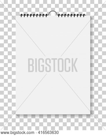 Notepad With Spiral Bound. Wall Calendar. Mockup Of Sketchbook Isolated On Transparent Background. N