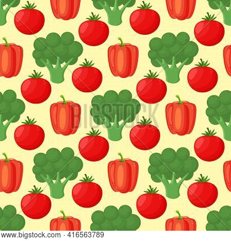 Pattern With Hand Drawn Colorful Vegetables. Sketch Style Set. Vegetables Flat Icons Set: Paprika, B