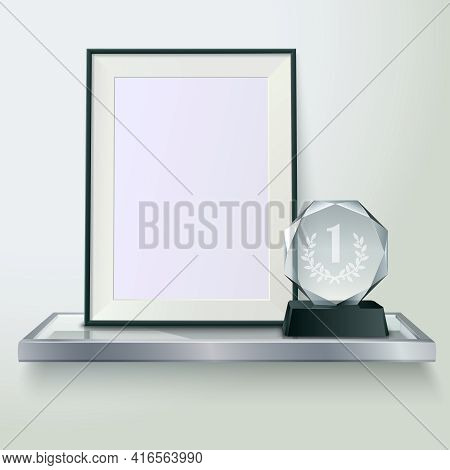 Faceted Round Crystal Glass Winner Trophy And Photo Frame On Shelf Realistic Side View Composition V