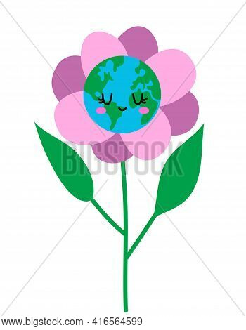 Flower Earth Day 2021. Planet Earth In A Garden Pot Like Home Plant. Earth Day Kawaii Drawing With H