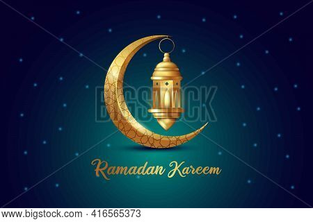 Ramadan Kareem Islamic Design Crescent Moon And Lantern With Arabic Pattern And Calligraphy