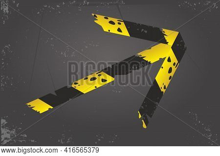Quarantine Banner. Barricade Tape Arrow. Direction And Navigation Sign. Duct Tape On A Floor. Vector