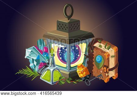Fantasy Background. Magic Items Collection. Video Game Items, Cartoon Style Illustration. Vector Art